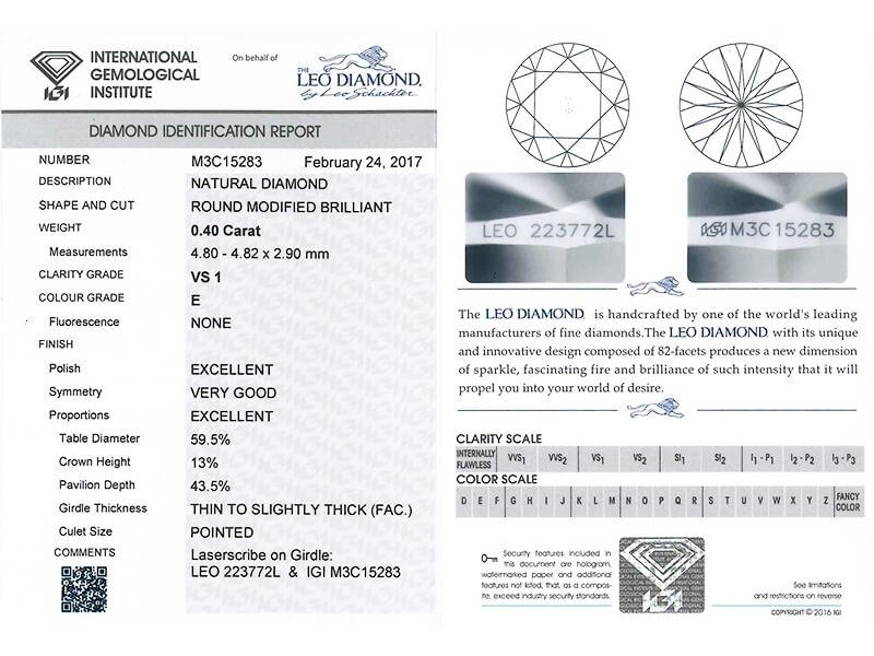 Diamond Certification - IGI LEO Diamond